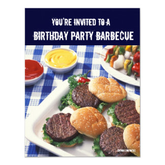 Birthday Party Barbecue, Burgers 11 Cm X 14 Cm Invitation Card