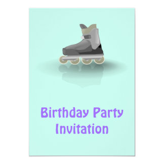 Birthday party invitation with roller blade