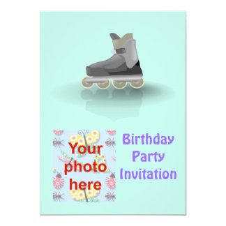 Birthday party invitation with roller blade photo