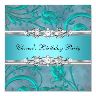 Birthday Party Pretty Teal Floral Diamond Image 13 Cm X 13 Cm Square Invitation Card