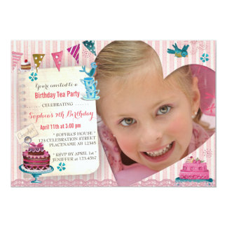Birthday Tea Girl Heart | Photo Party Invitation