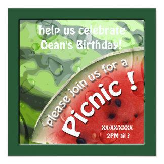 Birthday Watermelon Summer Picnic Invitation