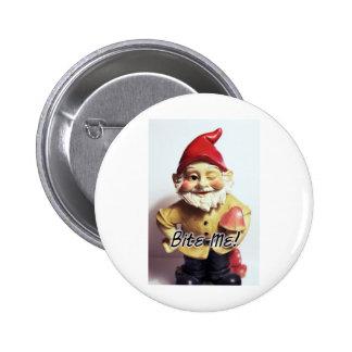 Bite Me Gnome 6 Cm Round Badge