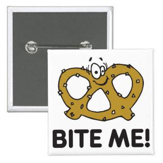 Bite Me Pretzel 15 Cm Square Badge
