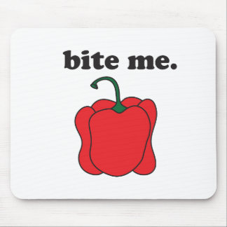 bite me. (red bell pepper) mouse pad