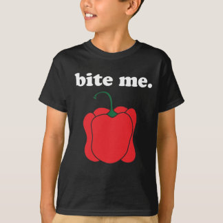 bite me. (red bell pepper) tee shirts