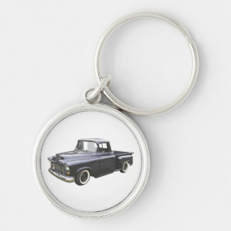 Black 1956 Chevrolet Pickup Silver-Colored Round Key Ring