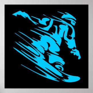 Black and Aqua Snowboarder Silhouette Poster