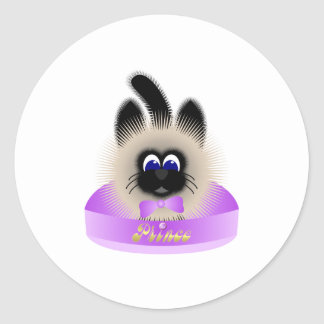 Black And Brown Cat With Pale Purple Tie In A Bed Round Sticker