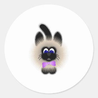 Black And Brown Cat With Pale Purple Tie Round Sticker