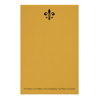 Black and Gold  Fleur De Lis Customized Stationery