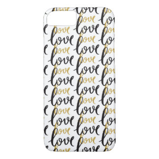 Black and Gold Love Pattern iPhone 7 Case