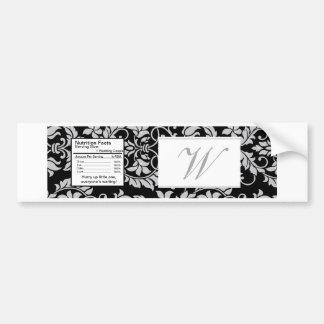 Black and Grey Damask Wedding Water Bottle Label Bumper Sticker