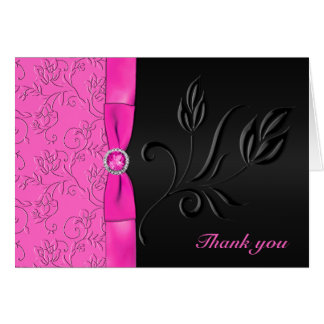 Black and Hot Pink Jewelled Thank You Card