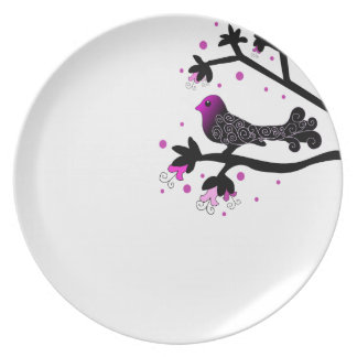 Black and Pink Bird with swirls on a Branch plate