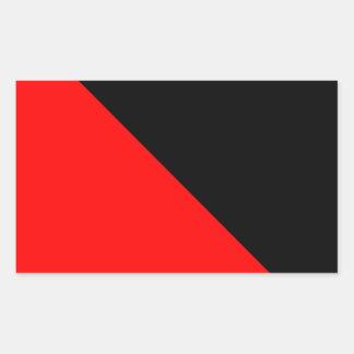Black and Red diagonal flag Rectangular Sticker