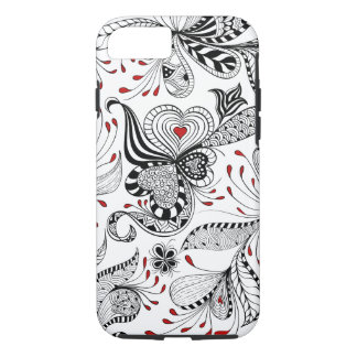 Black And Red Floral Swirls And Hearts iPhone 7 Case