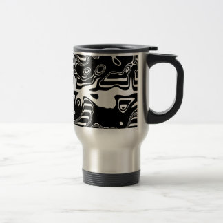 Black and White Abstract Pattern Stainless Steel Travel Mug