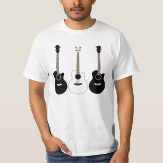 Black and White Acoustic Guitars Pop Art Vector T Shirts