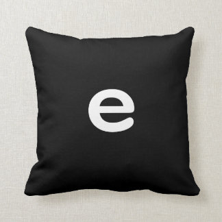 Black and white Anagram Pillow Lowercase Letter e Cushions