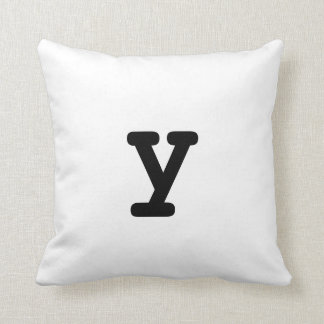 Black and white Anagram Pillow Lowercase Letter y Throw Cushions