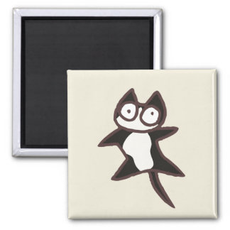 Black and White Bicolor Cat Square Magnet