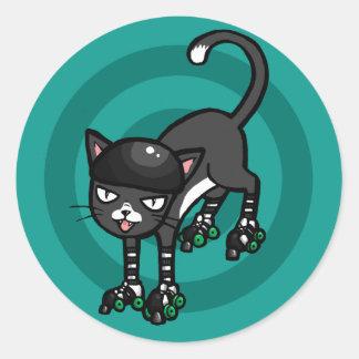 Black and white cat on Rollerskates Round Sticker