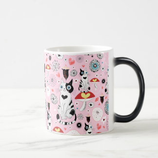 Black and White Cat Pattern For Cat Lovers Morphing Mug