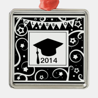 Black and white class of custom year graduation Silver-Colored square decoration