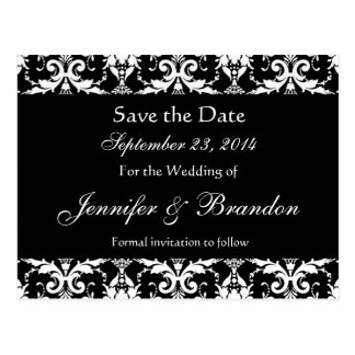 Black and White Damask Save The Date Postcard