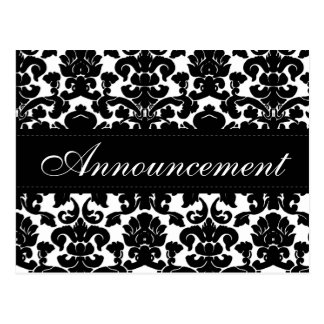 Black and White Damask Wedding Cancellation Card Postcard