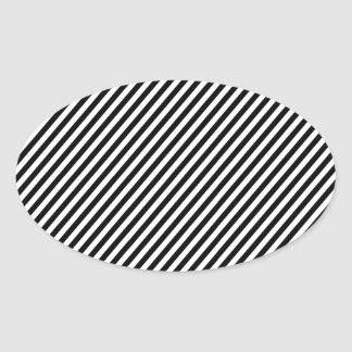 Black and white diagonal stripes. oval sticker