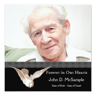 Black and White Dove Photo Funeral Announcements