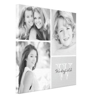 Black and White Family Monogram Photo Collage Stretched Canvas Prints