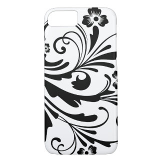 Black and White Floral Chic Wedding iPhone 7 Case