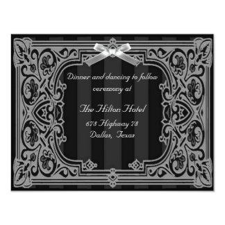 Black and White Formal Reception Card 11 Cm X 14 Cm Invitation Card