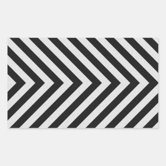 Black and White Hazard Stripes Textured Rectangular Sticker