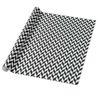 Black and White Herringbone All Over Pattern Wrapping Paper