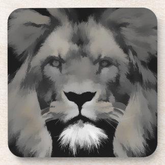 Black and white lion portrait coasters
