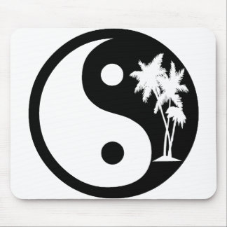 Black and White Palm Tree Yin Yang Mouse Pad
