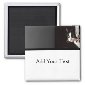 Black and White Peekaboo Cat Square Magnet