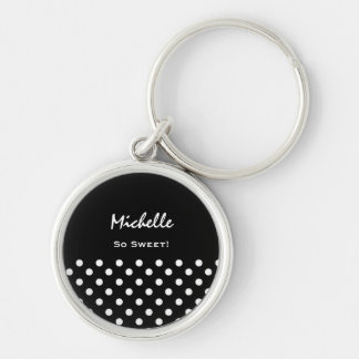 Black and White Polka Dots Custom Name Silver-Colored Round Key Ring
