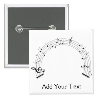 Black and White Rainbow Shaped Music Staff 15 Cm Square Badge