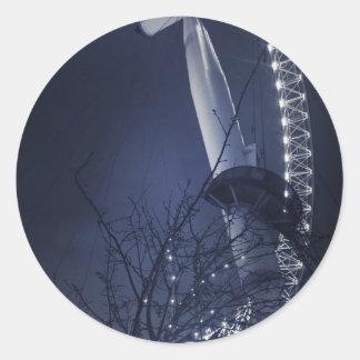 Black and white side of london eye round sticker