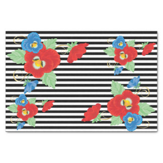 "Black and White Stripe Floral 10"" X 15"" Tissue Paper"