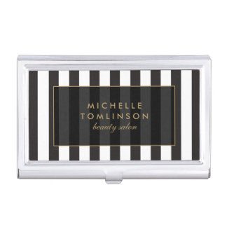 Black and White Stripes Salon III Card Case Business Card Holders