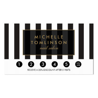 Black and White Stripes Salon Loyalty Card Pack Of Standard Business Cards