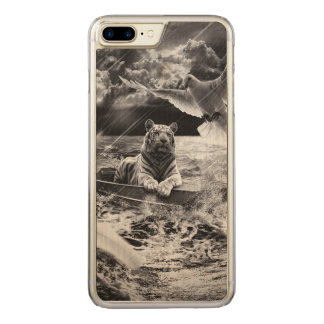 Black and White Tiger Boat Sailing Skylight Carved iPhone 7 Plus Case