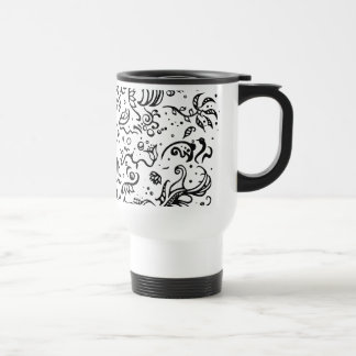 Black and white tribal abstract swirls stainless steel travel mug