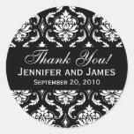 Black and White Wedding Damask Thank You Label Round Sticker